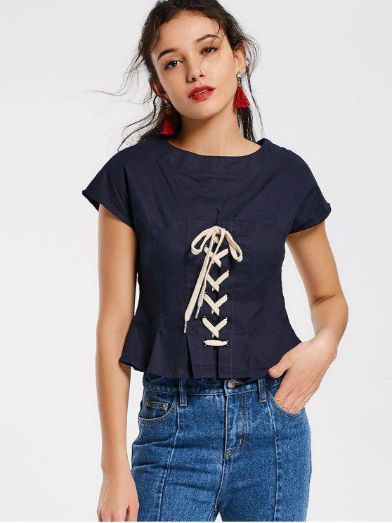 Zapatilla con cordones laterales - Azul Purpúreo L