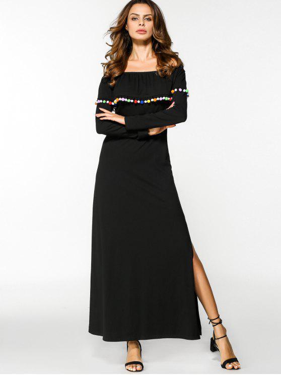 تراكب قبالة الكتف الشق فستان ماكسي - أسود XL