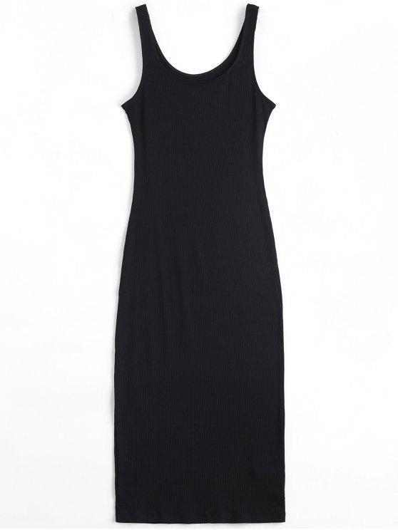 U Ausschnitt Gripptes Gestricktes Kleid - Schwarz Eine Größe