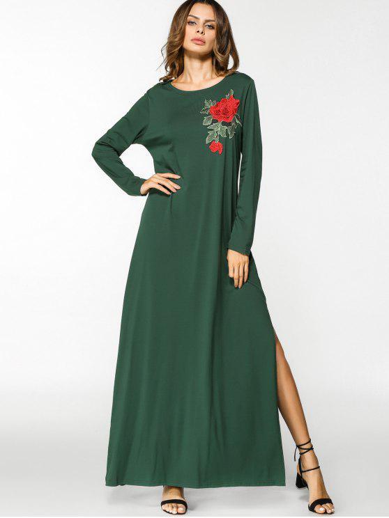 فستان انقسام مطرز بالأزهار ماكسي - أخضر L