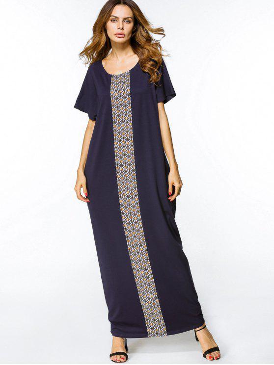 فستان فضفاض طباعة هندسية ماكسي - الأرجواني الأزرق L