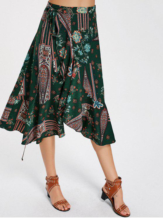 hot Floral Print High Waist Wrap Skirt - FLORAL L