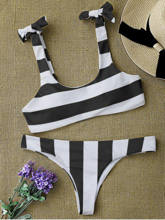 outfits Striped Tie Shoulder Scoop Bikini Set - WHITE AND BLACK S