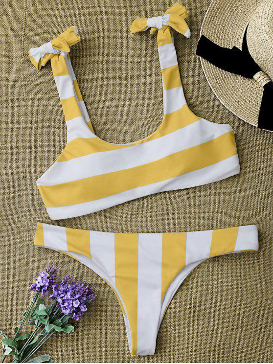 shop Striped Tie Shoulder Scoop Bikini Set - WHITE AND YELLOW L