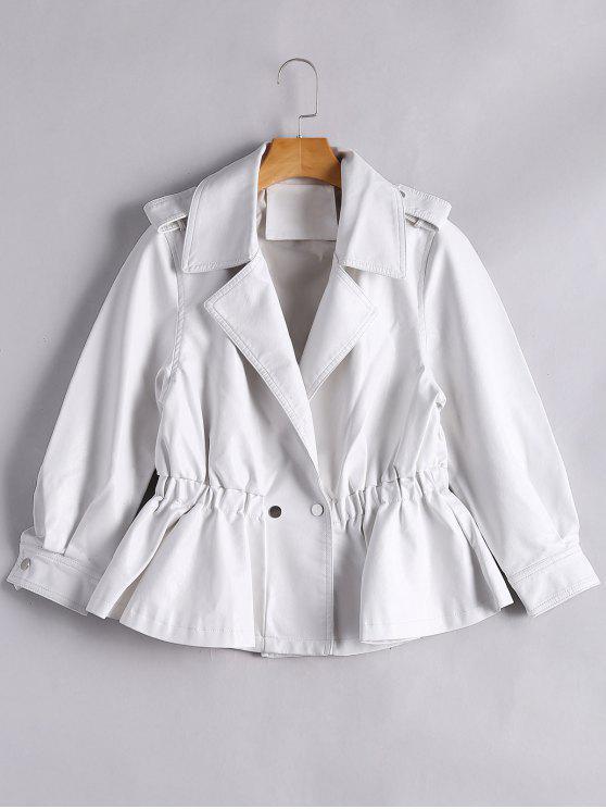 unique Snap Buttons Faux Leather Jacket - WHITE M