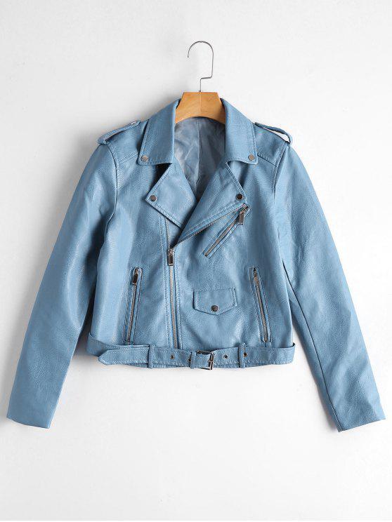 women's Zip Up Belted Faux Leather Biker Jacket - LIGHT BLUE XL