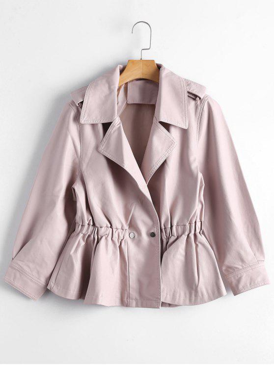 ladies Snap Buttons Faux Leather Jacket - LIGHT PINK S