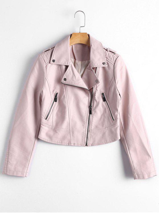 fashion Faux Leather Asymmetric Zipper Jacket - LIGHT PINK XL