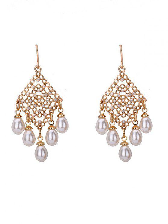 Faux Pearl Fish Hook Chandelier Boucles d'oreilles - Or