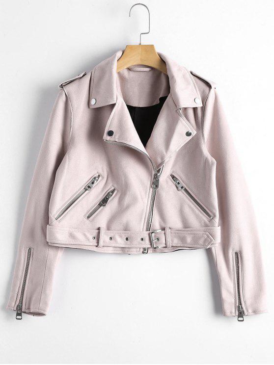 online Asymmetric Zipper Belted Faux Suede Jacket - LIGHT PINK S