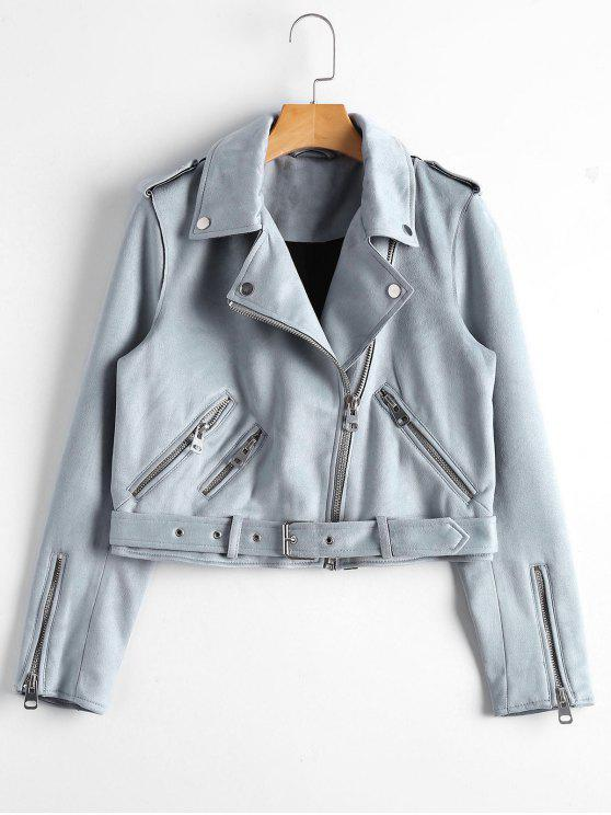 fashion Asymmetric Zipper Belted Faux Suede Jacket - BLUE GRAY S