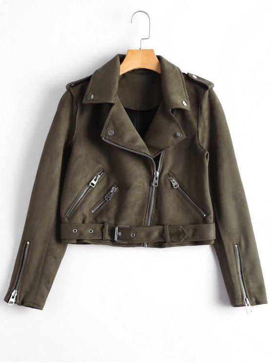 best Asymmetric Zipper Belted Faux Suede Jacket - BROWN S