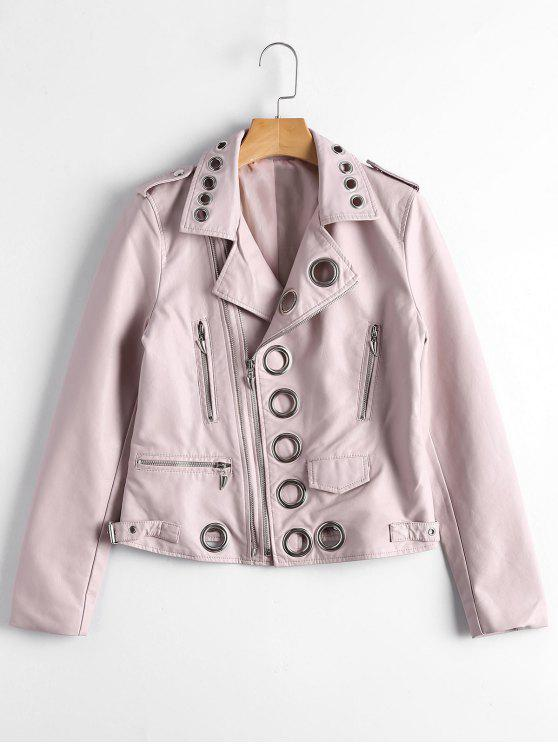 women Hollow Out Ring Embellished Faux Leather Jacket - LIGHT PINK S