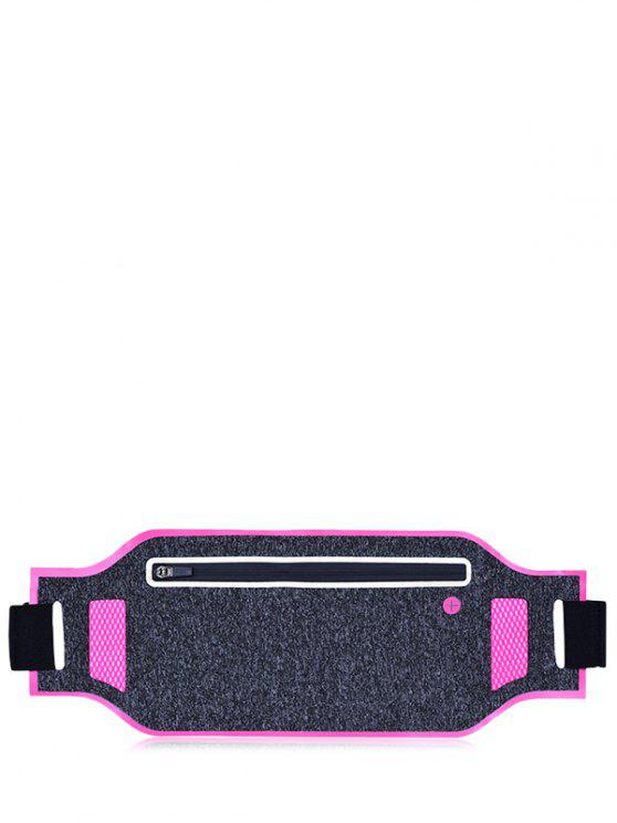 women Light Weight Color Block Breathable Waist Bag - ROSE RED