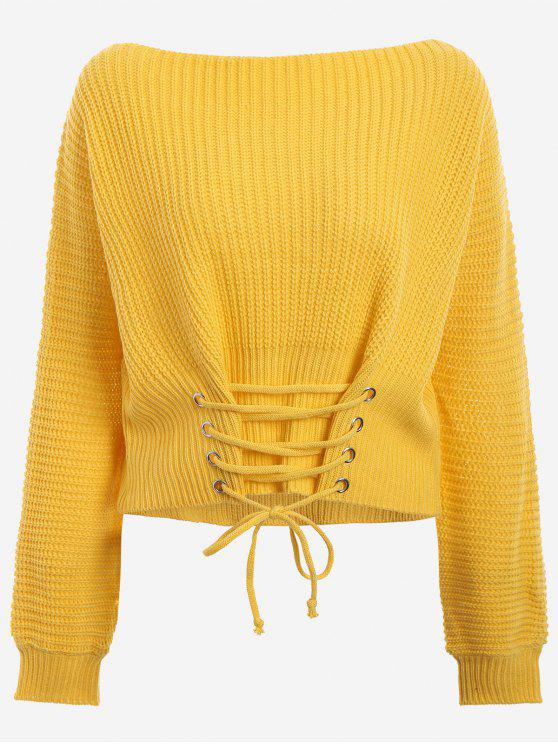 women's Boat Neck Lace Up Sweater - YELLOW ONE SIZE