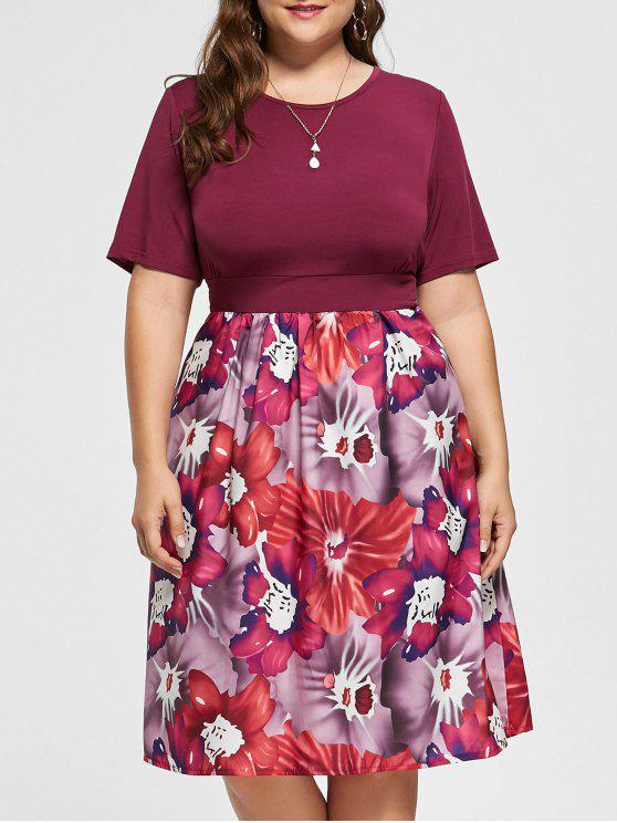 Vestido floral de tamanho grande A Line Floral - Vermelho Púrpura 5XL