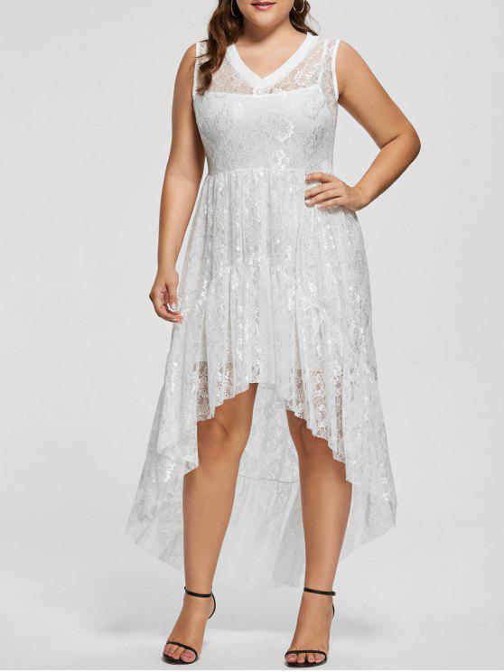 Lace High Low Plus Size Party Dress - Branco 5XL
