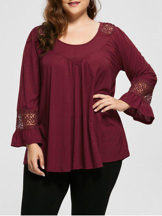 sale Crochet Panel Long SLeeve Plus Size Top - WINE RED 5XL