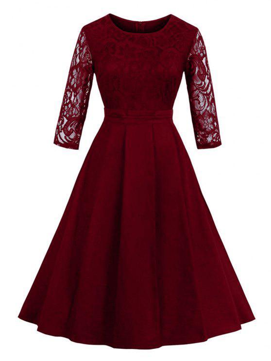 خمر الدانتيل إدراج صالح ومضيئة اللباس - نبيذ أحمر S