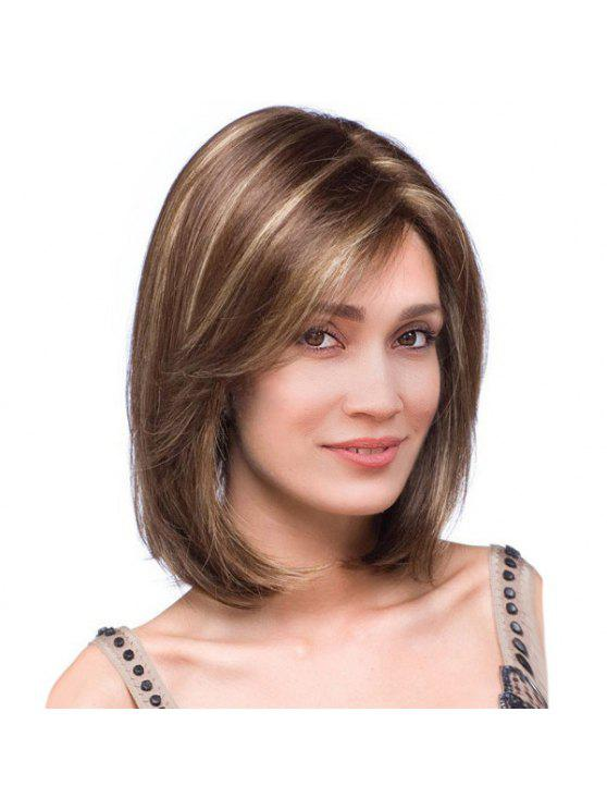 2019 Short Side Part Highlight Colormix Straight Bob Synthetic Wig