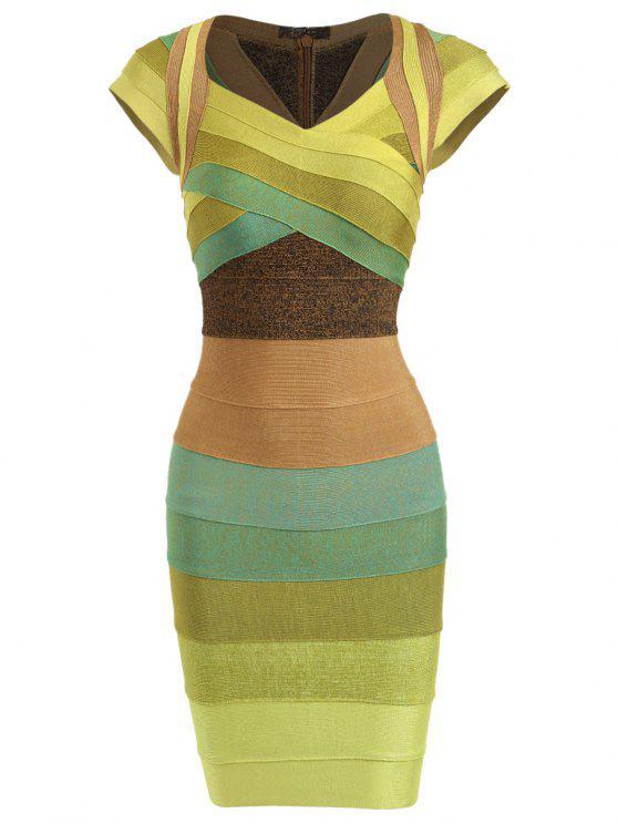 فستان الضمادة كاب الأكمام كتلة اللون - الأصفر XL