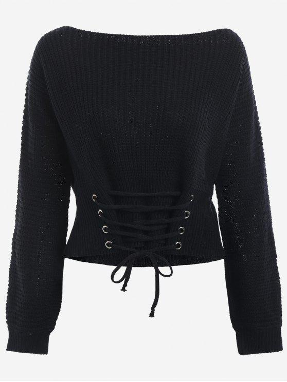 sale Boat Neck Lace Up Sweater - BLACK ONE SIZE