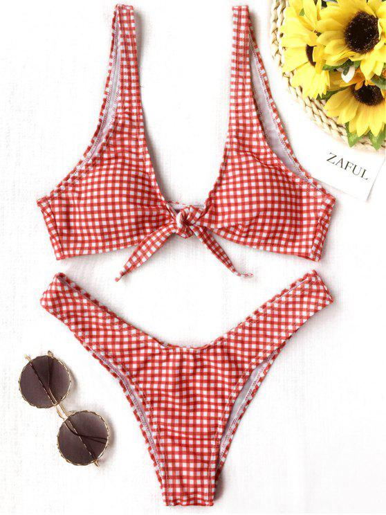 outfit Front Tie Thong Plaid Bikini Set - RED AND WHITE S