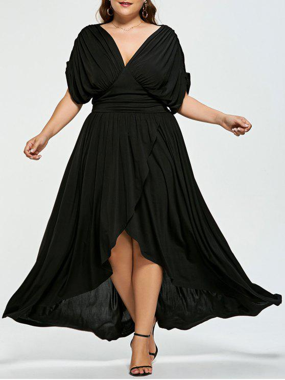 38% OFF] 2019 Plus Size Empire Wasit High Low Prom Dress In BLACK ...