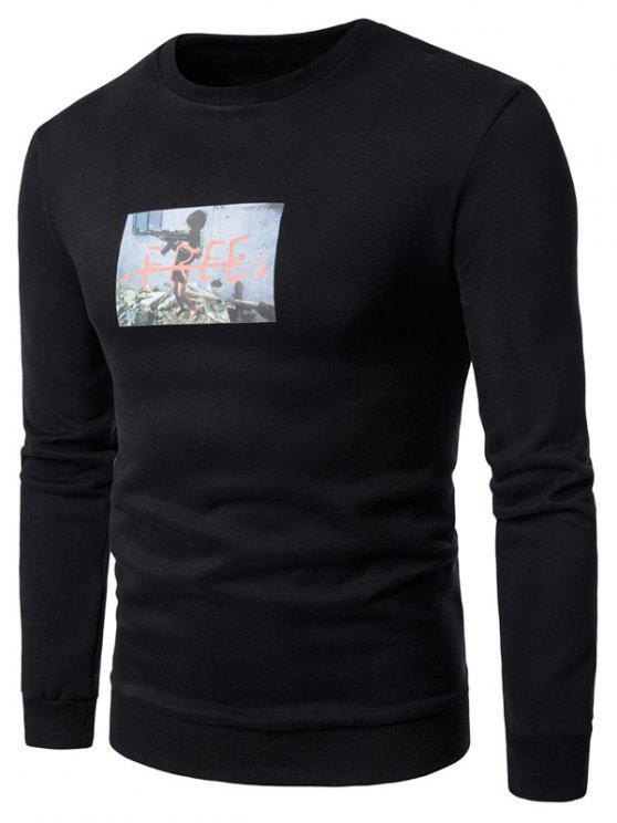 Sweatshirt aus Schafwolle mit 3D Kriegsjunge Druck und Rundhalsausschnitt - Schwarz M