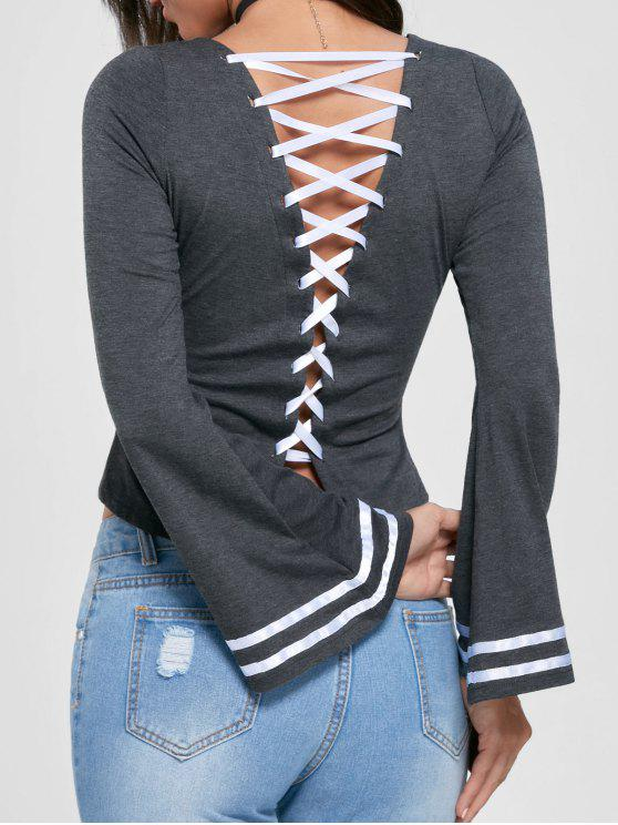 chic Lace Up Flare Sleeve Top - MOUSE GREY 2XL