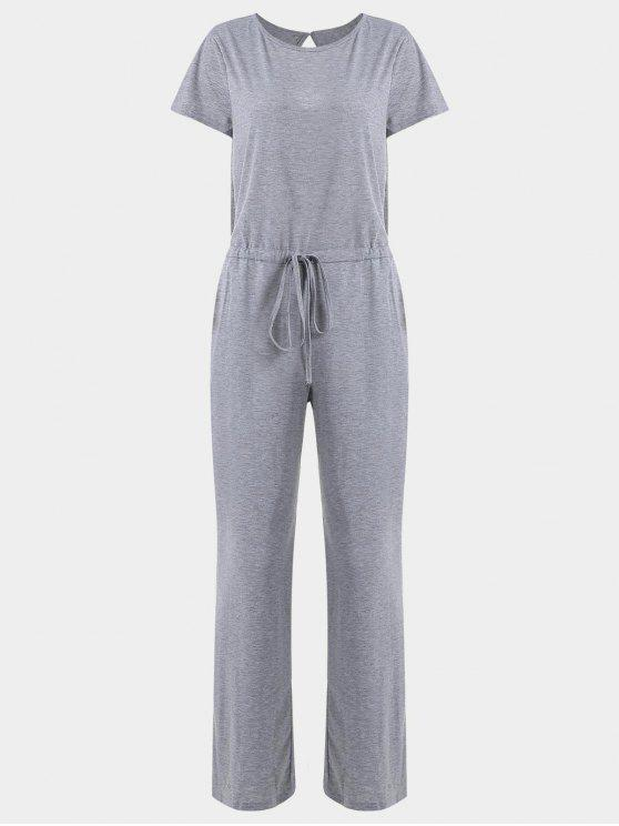 outfit Invisible Pockets Drawstring Wide Leg Jumpsuit - GRAY L