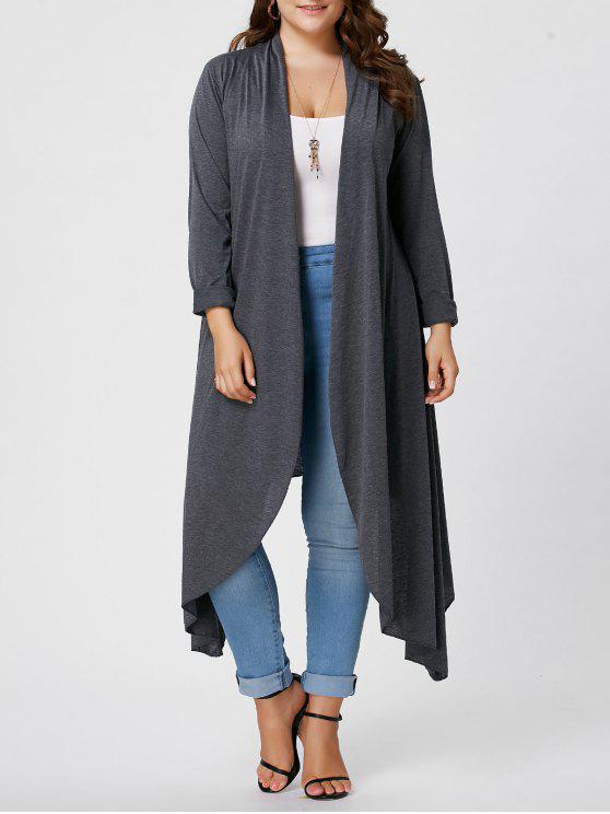 sale Plus Size Front Open Maxi Asymmetric Cardigan - GRAY 2XL