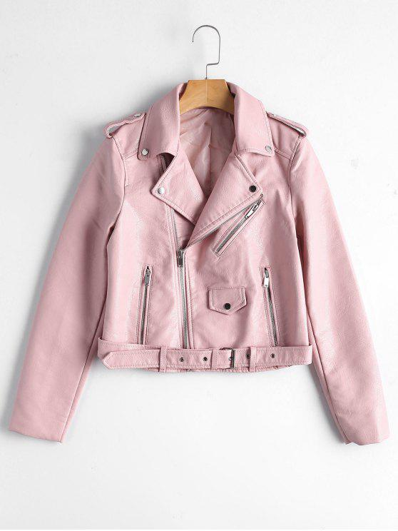 ladies Zip Up Belted Faux Leather Biker Jacket - LIGHT PINK S