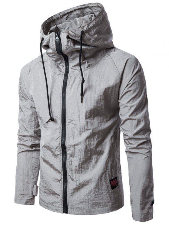 Hooded Raglan Sleeve Drawstring Zip Up Veste légère - Gris M