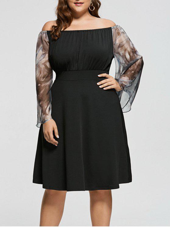 Robe Imprimé à Taille Haute à Épaules Dénudées Grande Taille - Noir XL