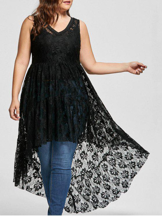 27% OFF] 2019 See Through Lace High Low Plus Size Top In BLACK | ZAFUL