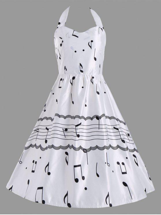فستان الحفلة طباعة رسن - أبيض M