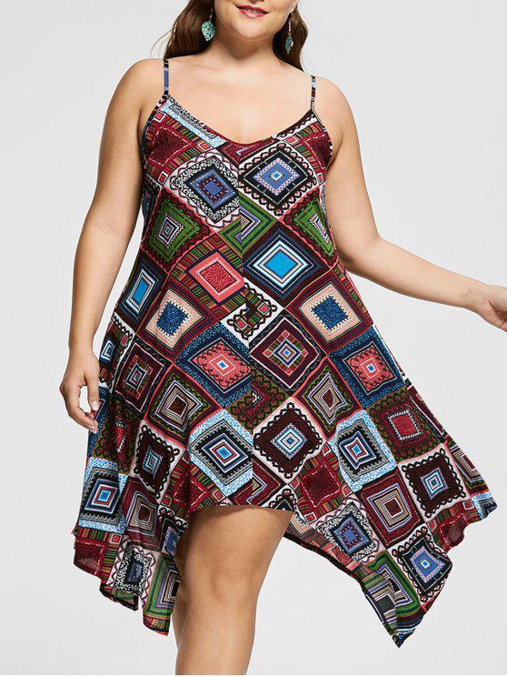 فستان منديل الحجم الكبير طباعة هندسية - متعدد الألوان 5XL