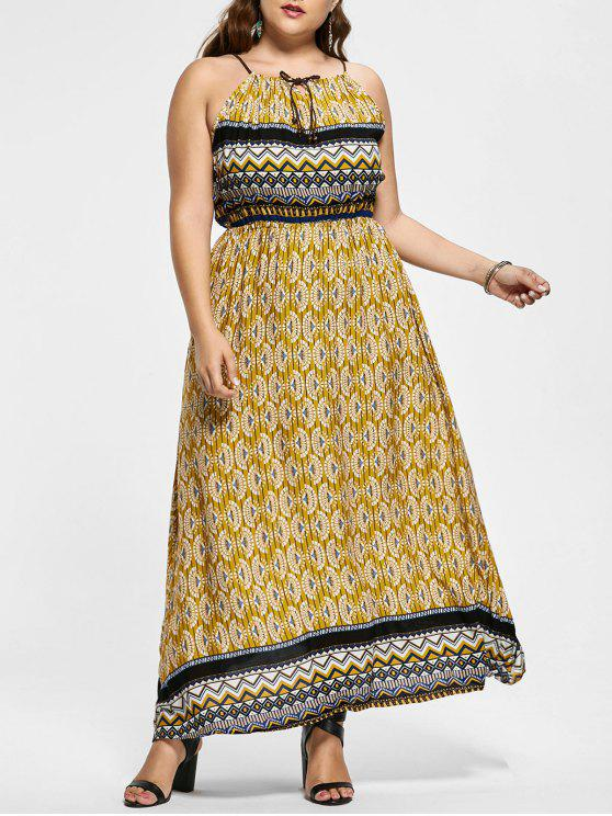 فستان طويل بدون أكمام مزين بطبعة - الأصفر 4XL