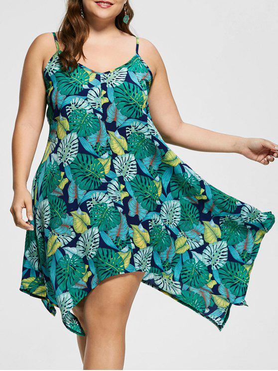 فستان بحمالات رفيعة ذو مقاس كبير - متعدد الألوان 5XL