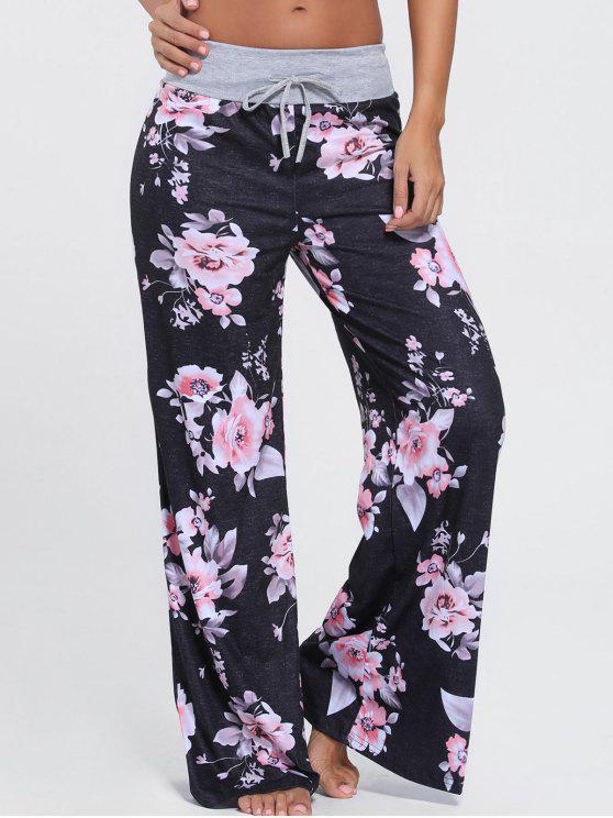 Calças de alças florais de perna larga - Preto S