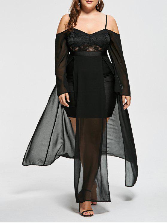Plus Size Open Shoulder Flowing Evening Dress Black Plus Size