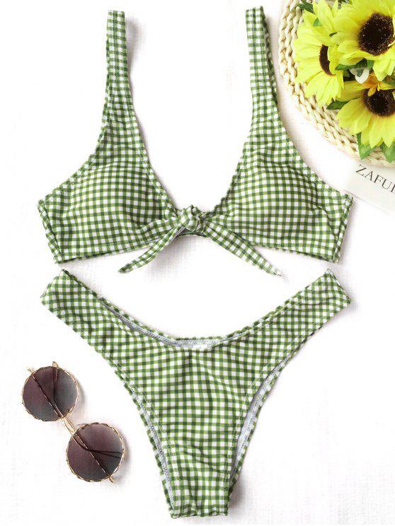 fashion Front Tie Thong Plaid Bikini Set - WHITE AND GREEN L