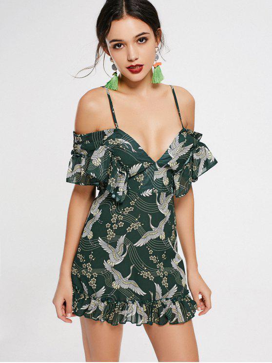 shops Crane Floral Print Ruffled Cami Dress - ARMY GREEN M