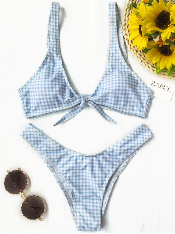 affordable Front Tie Thong Plaid Bikini Set - BLUE AND WHITE M