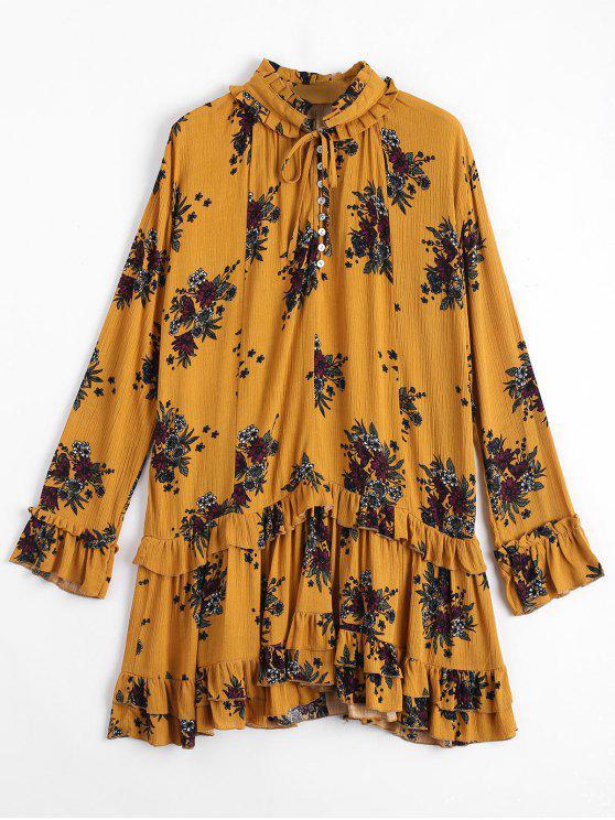 Robe à imprimé floral à volants - Curcumae M