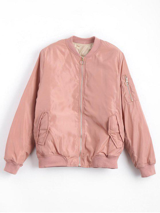 unique Zip Up Invisible Pockets Bomber Jacket - PINK M