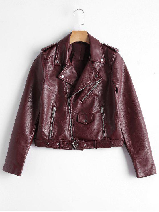 chic Zip Up Belted Faux Leather Biker Jacket - WINE RED M