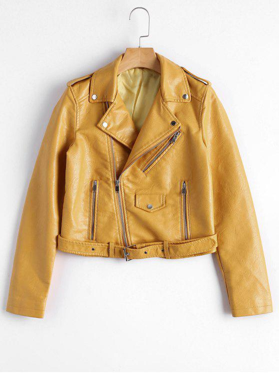 fashion Zip Up Belted Faux Leather Biker Jacket - GINGER L
