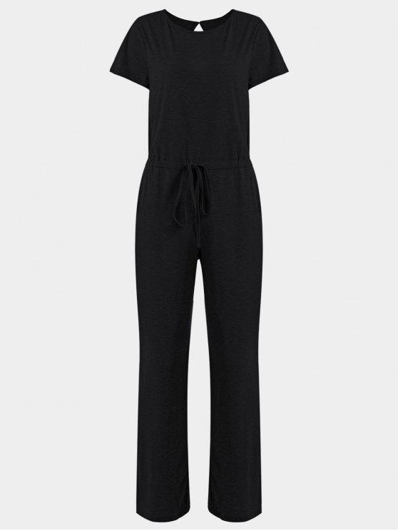 Bolsillos Invisibles Cordón Amplio Jumpsuit - Negro XL
